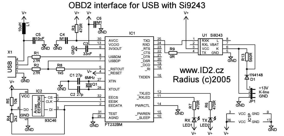 ODB2 to USB interface cable