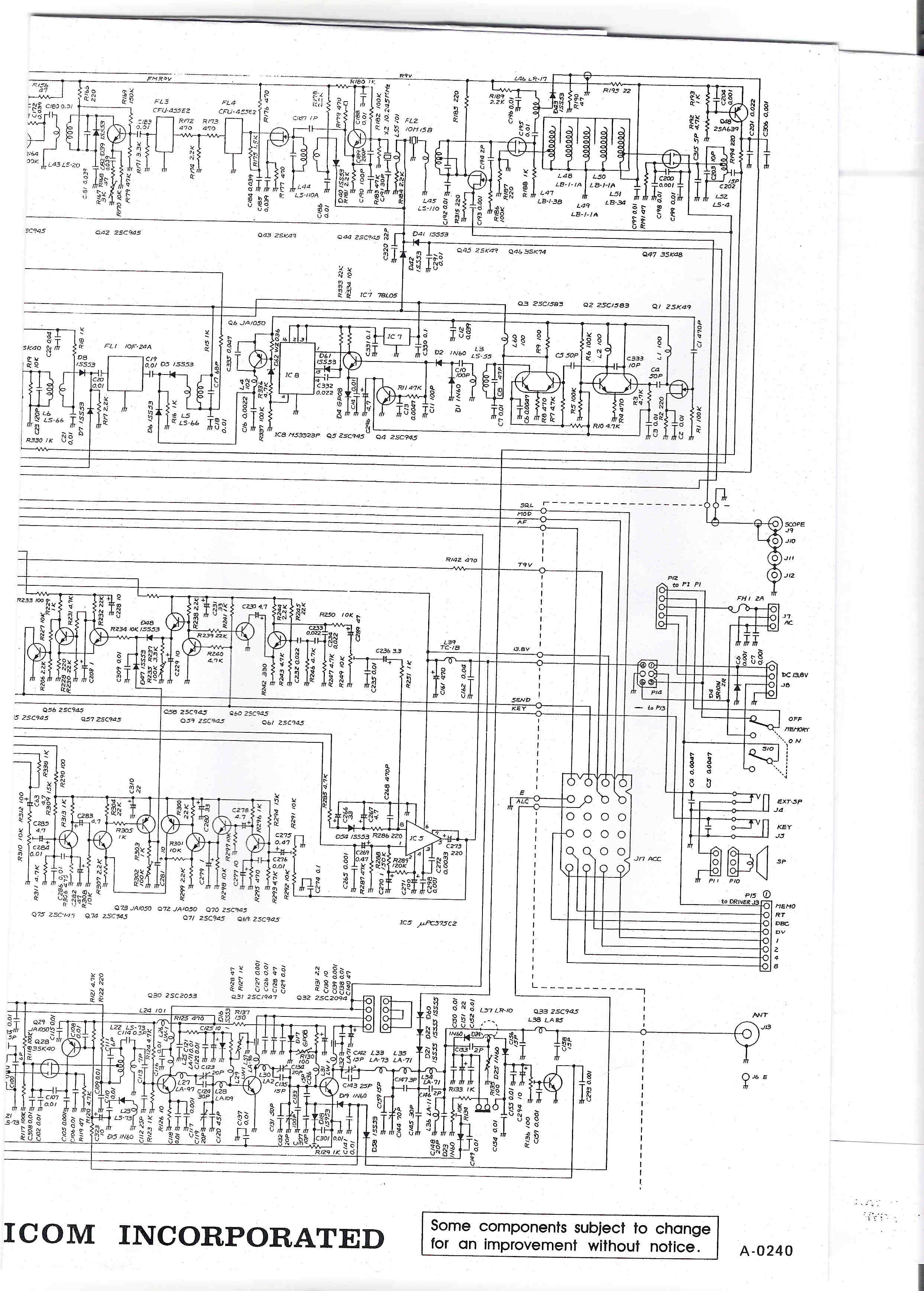 Icom IC-251 Schematic diagram