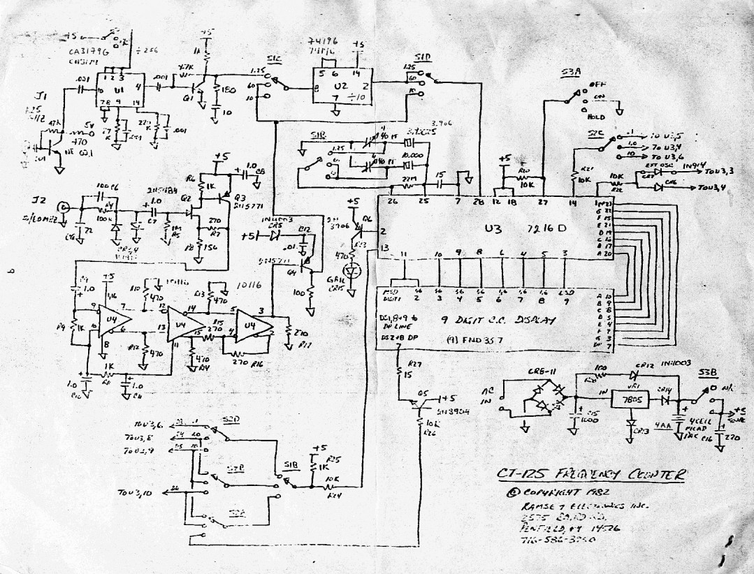 Ramsey CT-125 Ramsey CT-125 1 GHz frequency counter schematic diagram.